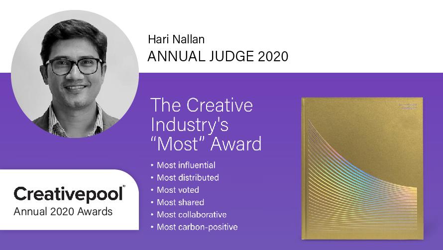 Hari Nallan is the jury member for this year's Creativepool Annual awards